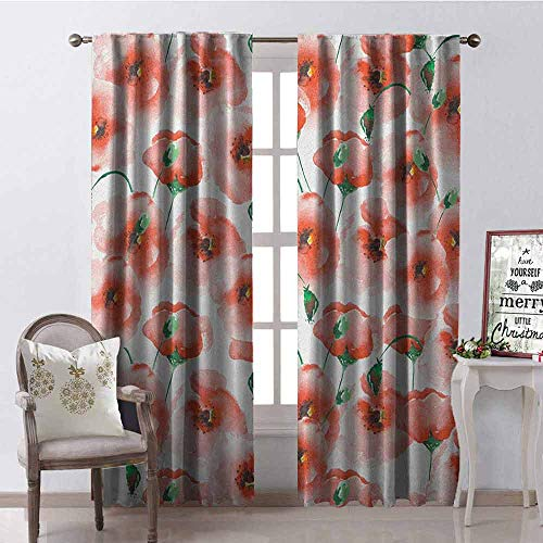 Scarlet Pinstripe Short - GloriaJohnson Flower Shading Insulated Curtain Poppies Pattern Twigs Bouquet Ornament Soft Color Classic Design Artwork Soundproof Shade W52 x L95 Inch Scarlet and Green
