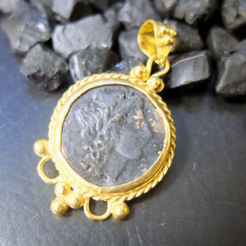 Ancient Design Handmade Roman Coin Pendant 22K Yellow Gold over 925K Sterling Silver ()
