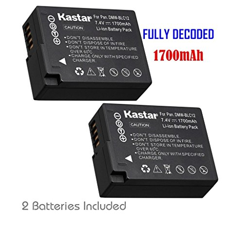 Kastar Battery (2-Pack) for Panasonic DMW-BLC12, DMW-BLC12E, DMW-BLC12PP and DE-A79 work with Panasonic Lumix DMC-FZ200, DMC-FZ1000, DMC-G5, DMC-G6, DMC-GH2 Cameras (Lumix Fz200 Best Price)