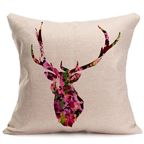 Iuhan Fashion Christmas Deer Pillow Case Sofa Waist Throw
