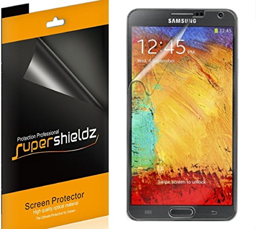 [6-PACK] Supershieldz- High Definition (HD) Clear Screen Protector For Samsung Galaxy Note 3 III -Lifetime Replacements Warranty (AT&T, Verizon, Sprint, T-mobile, All Carriers)- Retail Packaging](Tmobile Galaxy Note 3 Covers)