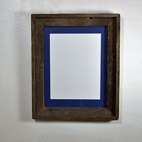 Picture Frame With 8.5x11 Dark Blue Mat Repurposed Wood Rustic Style Complete 11x14 Without Mat