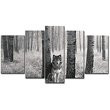 5 Panel Wall Art Painting Watchful Wolf Eyes in The Wild Prints On Canvas The Picture Animal Pictures Oil for Home Modern Decoration Print Decor