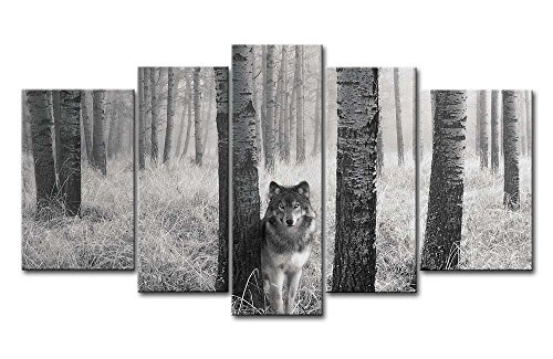 5 Panel Wall Art Painting Watchful Wolf Eyes In The Wild Prints On Canvas The Picture Animal Pictures Oil For Home Modern Decoration Print (Wolf Art Wall Decor)