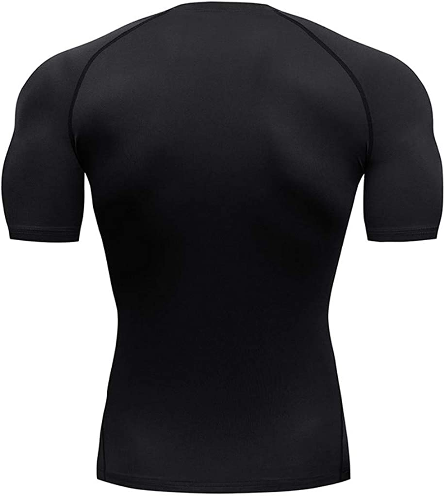 Cycling 4Clovers Mens Short Sleeve Compression Shirt Workout Training Athletic Base Layer for Fitness Tactical Sports Black
