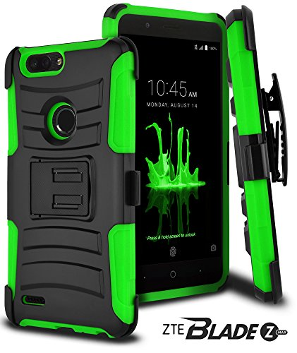 (CellJoy Case Compatible with ZTE Blade Z Max Case, ZTE Sequoia Z982 CellJoy [Ultra Rugged Hybrid] ShockProof - Impact Bumper [Heavy Duty] Protection {Kickstand} [Belt Clip Holster] (Lime)