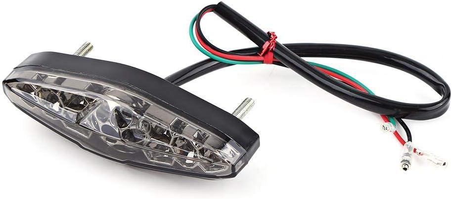 12V Universal Luz trasera Impermeable, 15 Luz Freno LED para Moto ATV Dirt Bike(humo)