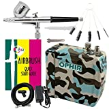 OPHIR Portable Mini Airbrush Air Compressor Kit Dual Action Airbrush Set with Cleaning Brush Adjustable Spray Gun for Hobby Model Crafts (Camouflage)
