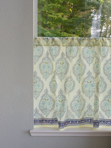 Morning Dew ~ Stylish Yellow Blue French Kitchen Curtain 46x24 - Provencal Canister