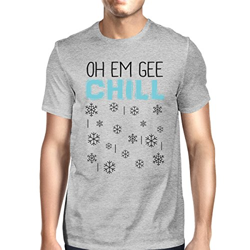 de Snowflakes Printing manga Em Chill solo con hombre un Oh corta hombro Camiseta 365 para Gee EqwdBq