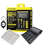 BUNDLE: Nitecore D4 Digi charger compatible with IMR LifePO4 Li-ion Ni-MH NiCd batteries (18650 26650 18490 18350 17670 17500 10440 16340 14500 AA AAA AAAA C) w/ 1x battery case and Lightjunction Keychain Light