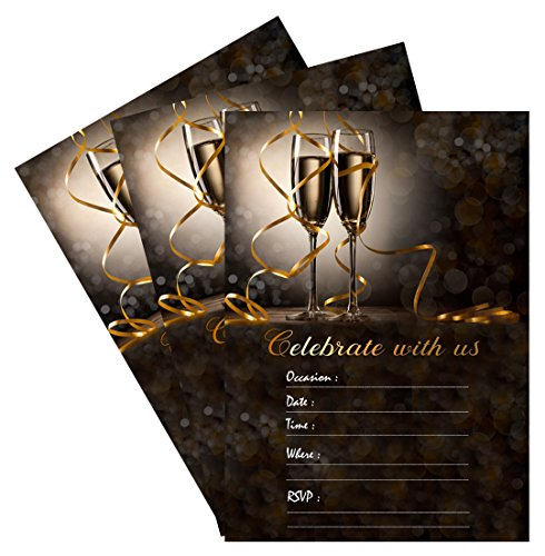 Best Occasions Invitation Kit (25 Celebrate With Us Champagne 5x7 Party Invitations Kit with Gold Metallic Pen and Envelopes)