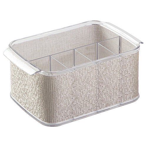 InterDesign Twillo Silverware Organizer Caddy - Flatware Storage Solution for Kitchen Countertop or Dining Table, Metallico/Clear