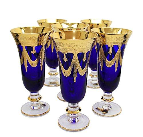 Interglass - Italy, Cobalt Blue Crystal Champagne Flutes, Vintage Design, 24K Gold Hand Decorated, 9 oz, Set of 6