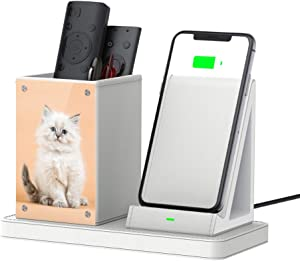 Desk Picture Frame Stand Pen Phone Holder Organizer with Integrated 10W Charger for iPhone/Samsung, Wireless Charging Smart Phones Station for Home and Office Gift (with QC3.0 AC Adapter) - White