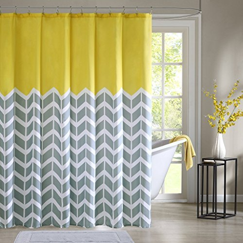 Nadia Shower Curtain Teal Waterproof Fabric Polyester Bathroom Shower Curtain,Yellow 48