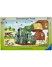 Ravensburger Barnpussel – 06044 Traktor på gården – rampussel för barn från 3 år, med 15 delar