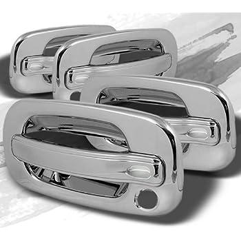 TYGER ABS Triple Chrome Plated Door Handle Cover 02-06 Cadillac Escalade//Chevy Avalanche//00-06 Tahoe//Silverado//Suburban 99-06 GMC Sierra//00-06 Yukon 4 Doors No Keypad With Passenger Keyhole by Tyger Auto