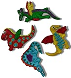 [4 Count Set] Custom and Unique (3 3/8'' X 1 5/8'' Inch) Assorted Sizes ''Prehistoric'' Baby Young Dinosaurs Design Iron On Embroidered Applique Patch {Yellow, Green, Orange, Blue & Red Colors}