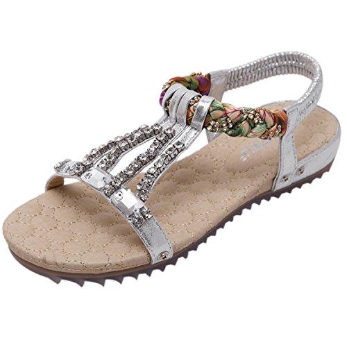 Falsos con Estilo Sandalía Diamantes Puntera Mujer Boho Plateado Plataforma con Azbro Abierta ET8wpvn6wq