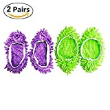 Kopowaes 2 Pairs Duster Cleaning Mop Microfiber Slippers Shoes Cover, Multi-Function Floor Cleaning(Green and Purple)