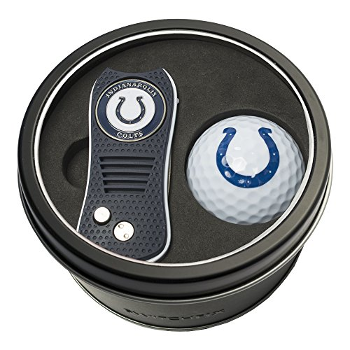 (Team Golf NFL Indianapolis Colts Gift Set Switchfix Divot Tool with Double-Sided Magnetic Ball Marker & Golf Ball, Patented Single Prong Design, Less Damage to Greens, Switchblade Mechanism)