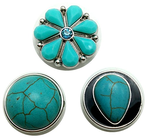 Ladieshow 3pcs Turquoise Stone Snap Button Jewelry Interchangeable Buttons Charms