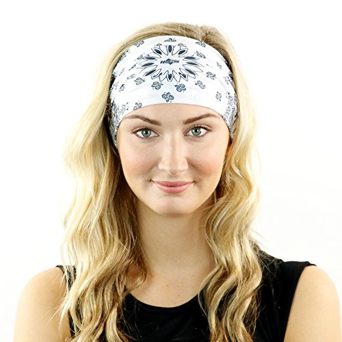 Paisley Bandana & Neck Gaiter Combo - Wear As A Headband, Scarf, Or Neck Cover (White) ()