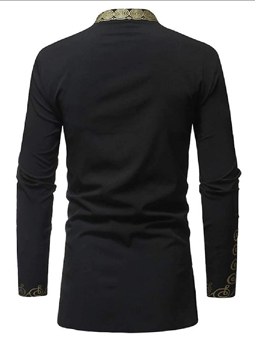 Yayu Men African Dashiki Shirt Floral Printed Long Sleeve Casual Dress Shirt