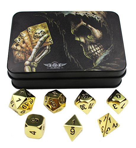 Gold Solid Metal Polyhedral Dice - for Dungeons and Dragons, Pathfinder and other RPGs ()