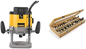 DEWALT DW625 3-Horsepower Variable Speed Electronic Plunge Router with Irwin Tools 1901049 Marples Master Router Bit Set (30 Piece)