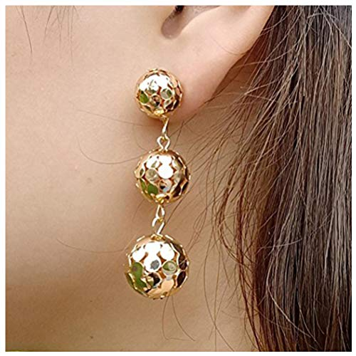 (Clearance! Fashion Charming Hollow Gold/Silver Balls 3 Ear Stud Metal Balls Long Dangle Earrings Jewelry for Women Gifts (Gold))