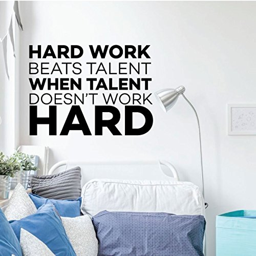Motivational Wall Decal Quote - Hard Work Beats Talent - Vinyl Decor for Office, Locker Room, Boy's Bedroom or Playroom - Sports Theme Decoration Locker Room Decor