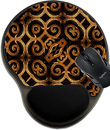MSD Mousepad wrist protected Mouse Pads/Mat with wrist support design 36634758 llec Islam or arabic style art ornament arabesque motif pattern in hard contrast - Dish Arabesque
