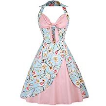 OLADY Halter 1950s Vintage Floral Audrey Hepburn Dress 60s Retro Cocktail Party Dress
