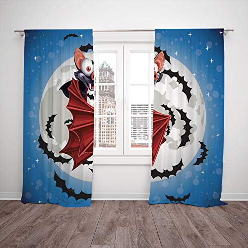 SCOCICI Thermal Insulated Blackout Window Curtain [ Vampire,Cute Funny Cartoon Bat Mascot Flying in Vibrant Night Sky Full Moon Stars Horror,Multicolor] Bedroom Living Room Dorm Kitchen Cafe