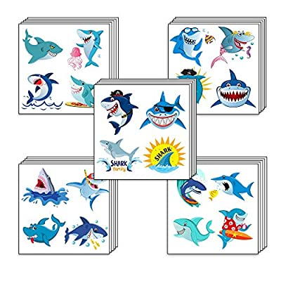 Shark Temporary Tattoos,Grier Ocean Sea Shark Themed Baby Shower Birthday Party Decor,Great hit for party favors for the Boys Girls Kids Party and add to goody bags,SUPER CUTE: Beauty