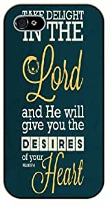 For LG G2 Case Cover Bible Verse - Take delight in the Lord and he will give you the desires of your heart. Psalm 37:4 - black plastic case / Verses, Inspirational and Motivational