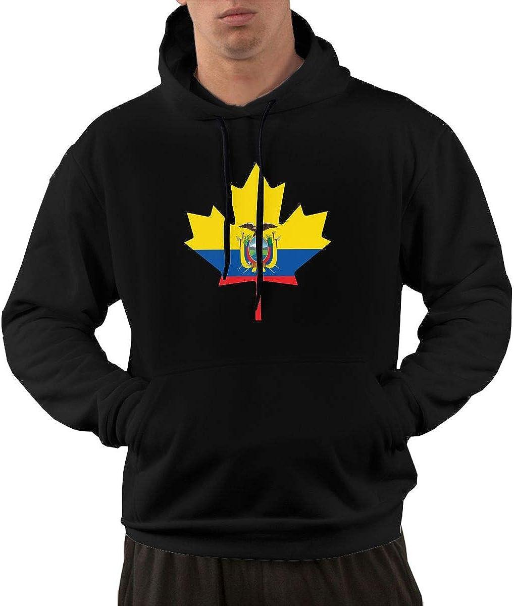 Ecuadorian Flag Canada Maple Leaf-1 Sweater with Pockets Mens Casual Fleece Hoodies
