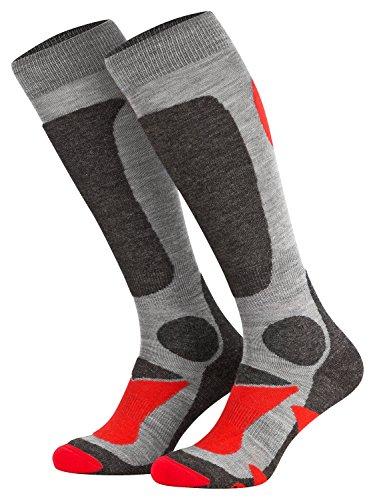 Piarini 2 Paar Unisex Skisocken Skistrumpf Herren, Damen und Kinder für Wintersport, Snowboard atmungsaktive Knie-Strümpfe Farbe Grau-Rot Gr.43-46