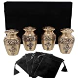 Bronze Cross Beautiful Small Mini Keepsake Urn for Human Ashes - Set of 4 - with Velvet Case and 4 Pouches