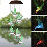 Topspeeder Wind Chimes,Solar Energy and USB Charger, 2 Ways Power Color-Changing Hummingbird Wind Chime, Solar LED Six Hummingbird Mobile Waterproof for Party Night,Garden,Outdoor,Home Decoration etc