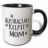 3dRose mug_154060_4 Australian Kelpie Dog Mom Doggie by breed muddy brown paw prints doggy lover love pet owner Two Tone Black Mug, 11 oz, Black/White