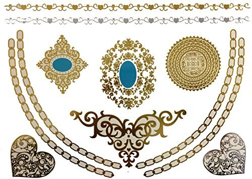 Metallic Gold Silver Black Jewelry Temporary Bling Tattoo All-In-One Package 5 Sheets (Style#1) - Metallic Steel Bed