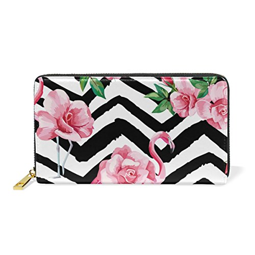 TIZORAX Pink Flamingoes Green Leaves Womens Clutch Purses Organizer And Handbags Zip Around Wallet Pattern-7
