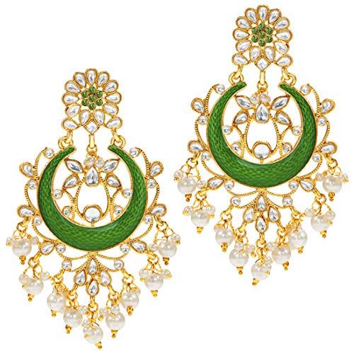 - Aheli Indian Traditional Faux Stone Chandbali Long Dangle Earrings (Green) Bollywood Fashion Wedding Party Jewelry for Women