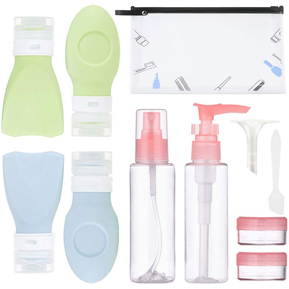 Travel Size Bottle Set 10 Pack TSA Approved Travel Container Leak Proof Refillable Silicone Squeezable Travel Tube & Plastic Bottle BPA Free Empty For Toiletries Cosmetics Shampoo With Bag 2oz & 3.4oz