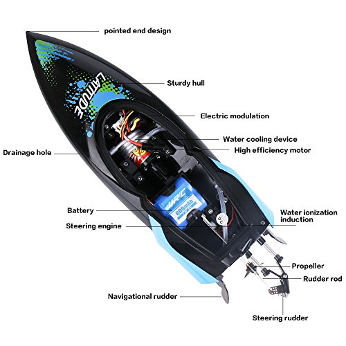 WETECH RC Boat, High Speed Remote Control Boat, Radio Controlled Toy, 2.4GHz Fast RC Boat, Double Layer Waterproof Cover RC Racing Boat With Remote Control For Pools and Lakes For Adults Kids