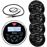 "New Boss Audio Marine Bluetooth In Dash MP3 USB Gauge Receiver Stereo Digital Media AM/FM Audio Radio Player With 6.5"" Kenwood Marine Audio Speakers (Black) + Enrock Marine Antenna"