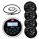 New Boss Audio Marine Bluetooth In Dash MP3 USB Gauge Receiver Stereo Digital Media AM/FM Audio Radio Player With 4 X 6.5' Kenwood Marine Audio Speakers Black + Enrock Marine Antenna